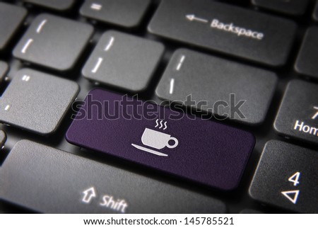 Food key with Coffee cup icon on laptop keyboard. Included clipping path, so you can easily edit it.
