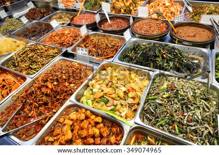 Food Korea style at Seoul market - stock photo