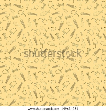 Food leavings (fish, apple, chicken, drink) on beige background - stock photo