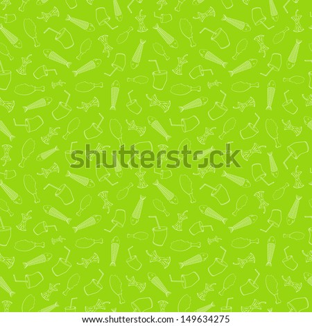Food leavings (fish, apple, chicken, drink) on light green background - stock photo