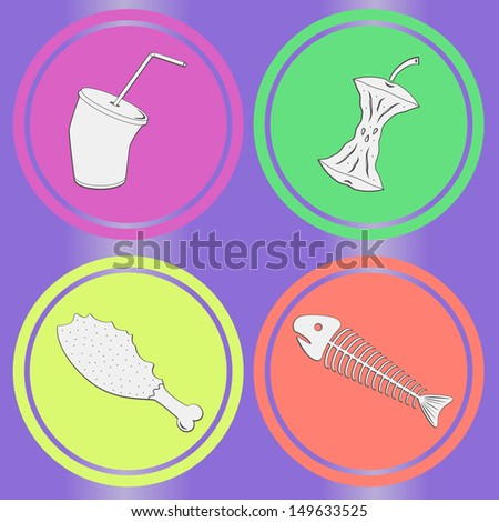 Food leavings (fish, apple, chicken, drink) on purple background - stock photo