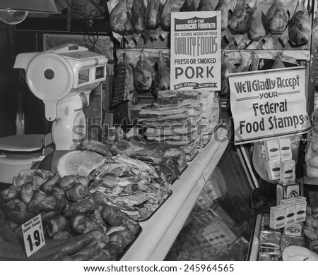 Food Market display welcoming Food Stamps made available to Americans on relief from 1939 to 1943. The first Food Stamp program was initiated by Sec. of Agriculture Henry Wallace. - stock photo
