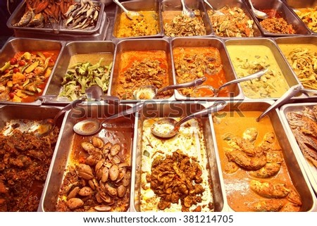 Food market in Bangkok, Thailand. All you can eat buffet choice. Retro colors filtered style. - stock photo