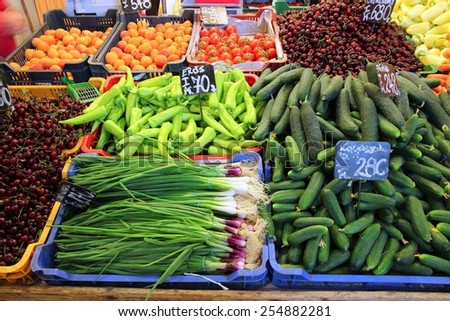 Food market in Budapest, Hungary (Great Market Hall). Fresh produce marketplace. - stock photo