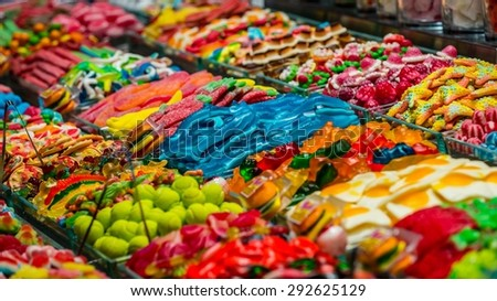 Food market in central barcelona - stock photo
