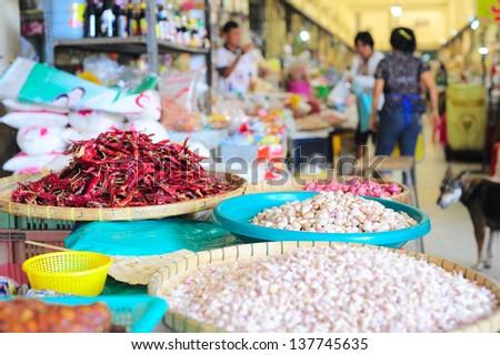 Food market in Thailand. Focus on a garlic - stock photo