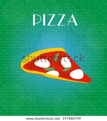 Food Menu Pizza with Green & Blue Background - stock photo
