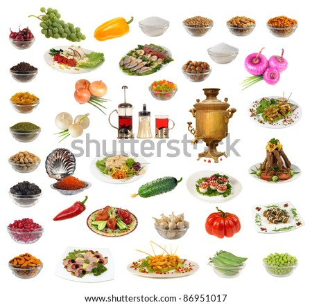 Food on a white background,
