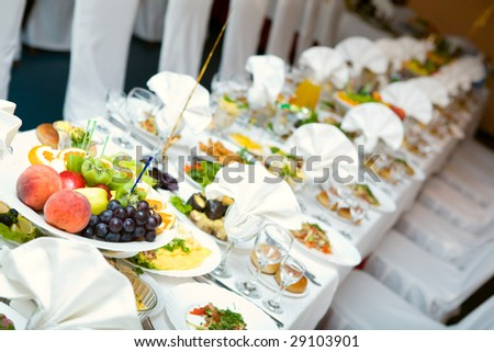 food on the celebration table - stock photo