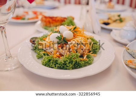 food on the table waiting for guests at the wedding - stock photo