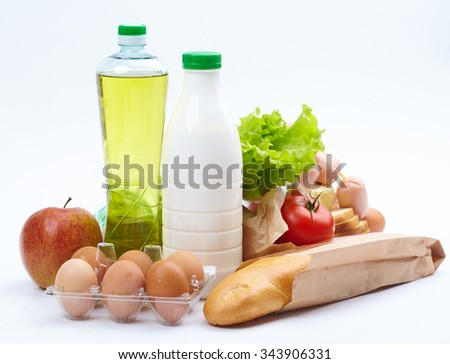 food on the white - stock photo