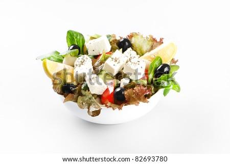 Food on white background - stock photo