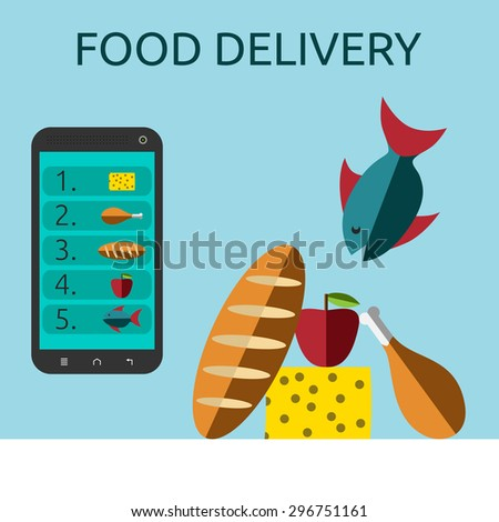 Food ordered online via smart phone to table with white tablecloth. Food delivery, selling or buying via internet concept - stock photo