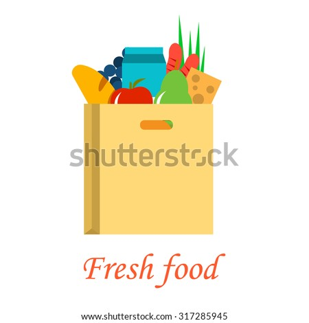 Food paper bag full of fresh healthy groceries,  fresh food delivery.