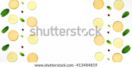 Food pattern of cookies with mint and lime on a white background. Fruits pattern . Food style pattern. Flat lay pattern.