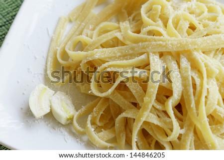 Food Photography, Italian dish Pasta Aglio e Olio - stock photo
