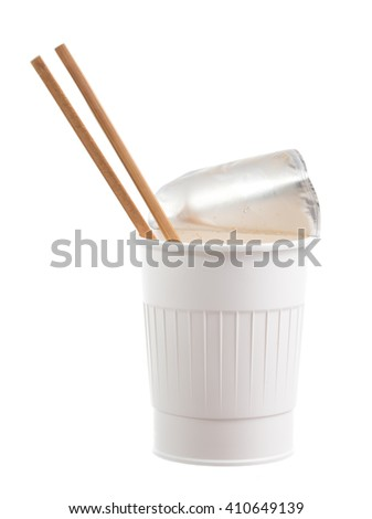 Food plastic container and chopsticks isolated on white background
