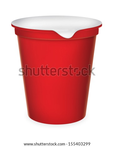 Food plastic container , dessert, yogurt, ice-cream, sour cream with cover. Packing for the isolation of the product on a white background with reflections and soldering Red color  - stock photo