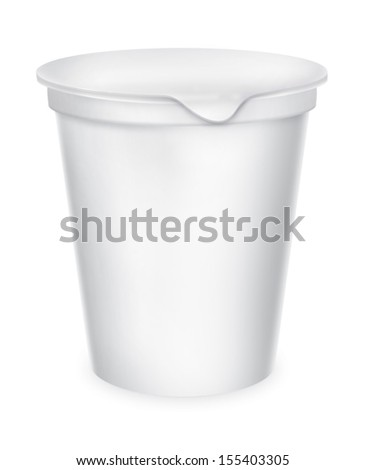 Food plastic container , dessert, yogurt, ice-cream, sour cream with cover. Packing for the isolation of the product on a white background with reflections and soldering white color  - stock photo