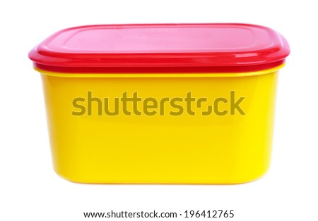 food plastic container  isolated on white - stock photo