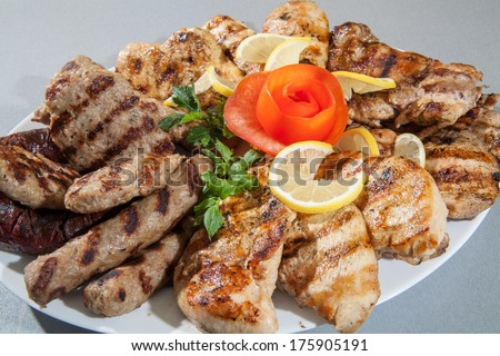 Food plate of different meat. barbecue grill - stock photo