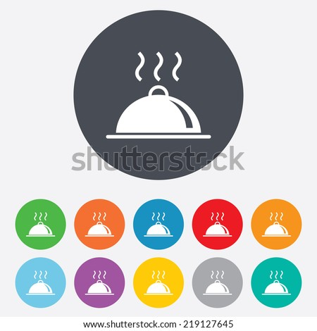 Food platter serving sign icon. Table setting in restaurant symbol. Hot warm meal. Round colourful 11 buttons. - stock photo