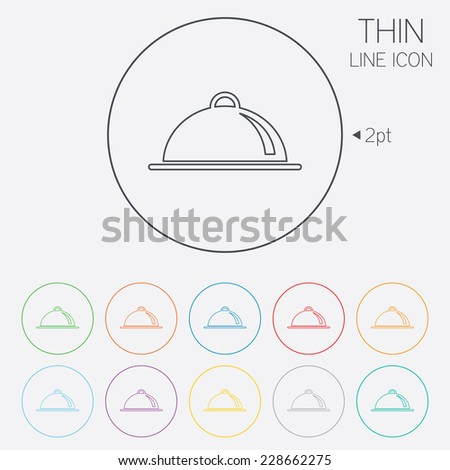 Food platter serving sign icon. Table setting in restaurant symbol. Thin line circle web icons with outline. - stock photo
