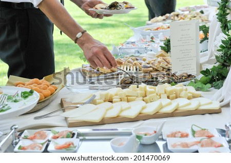 food preparation catering at the outdoor wedding - stock photo