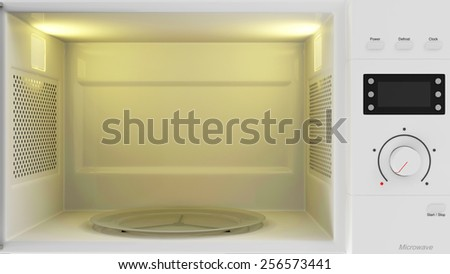 Food Preparing Concept. Close-up View of an Empty Open Microwave Oven with place for Your object - stock photo