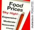 Food Prices High Monitor Showing Expensive Grocery Cost - stock photo