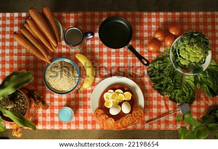 Food ready to be prepared on table from an above perspective - stock photo