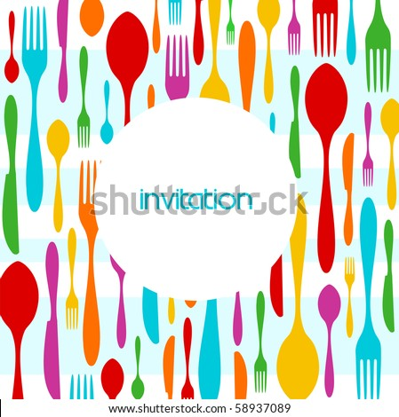 Food, restaurant, menu design with colorful cutlery silhouette background. Suitable as invitation dinner card. - stock photo