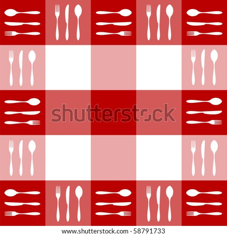 Food, restaurant, menu design with cutlery silhouettes pattern on red tablecloth texture. - stock photo