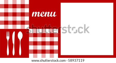 Food, restaurant, menu design with cutlery silhouettes, red tablecloth texture and white space for sample text. - stock photo