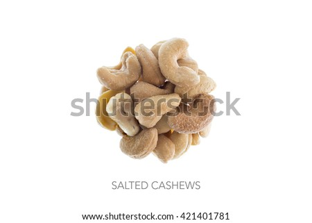 Food round bal ingredients minimalist cashew nuts salted - stock photo