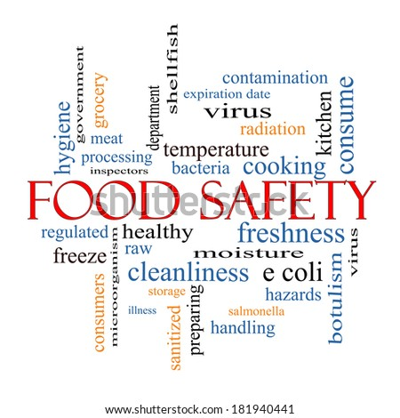 Food Safety Word Cloud Concept with great terms such as hazards, e coli, cooking and more. - stock photo
