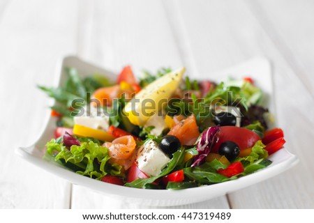 Food Salad Olives Snack Mediterranean Copyspace wood Appetizing Healthy Eating Creative Food Gourmet Cuisine Concept - stock photo
