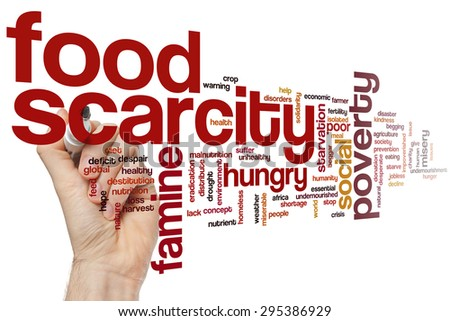 Food scarcity concept word cloud background - stock photo
