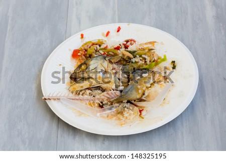 food scraps in dish - stock photo