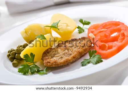 Food serias. Chicken fillet with vegetables on the plate