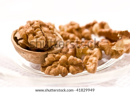 food serias: walnut with cracker on the white