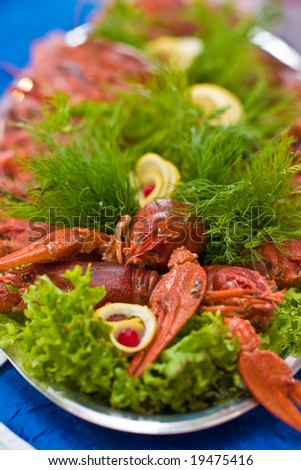 Food series: fresh boiled crawfish with beer - stock photo