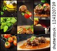 Food series. Italian food collage with meat balls and ingredients: fresh tomatoes, basil, olive oil and red wine. - stock