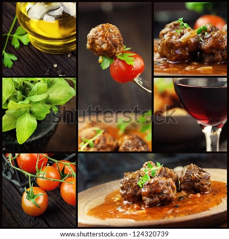 Food series. Italian food collage with meat balls and ingredients: fresh tomatoes, basil, olive oil and red wine. - stock photo