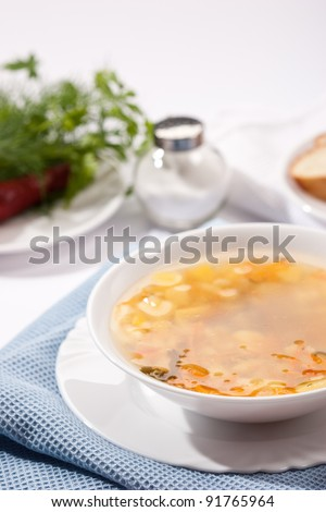 food series: macro picture of soup with parsley