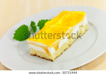food series: mango fancy cake with yellow fruit jelly