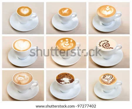 Food set of cap with coffee . collage - stock photo