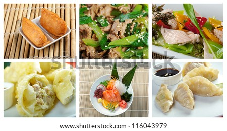 Food set of different chinese cuisine . collage