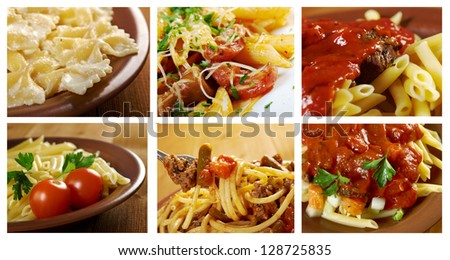 Food set of different italian pasta. collage - stock photo