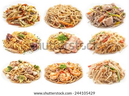 Food set of different italian pasta. collage - stock photo